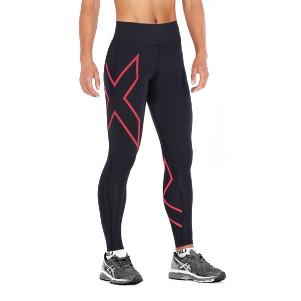 2XU Bonded Mid-Rise Womens Compression Tights – Hibiscus/Black