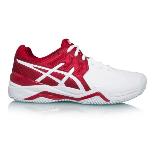 Asics Gel Resolution 7 Clay Novak Djokovic – Mens Tennis Shoes – Red/White/Silver