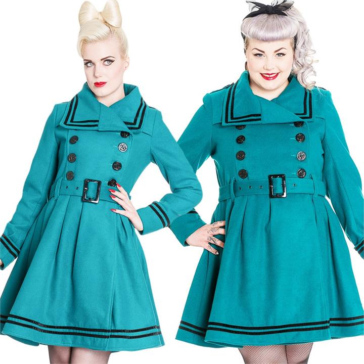 [Special Order] Hell Bunny Millie Coat – Teal (XL Only)