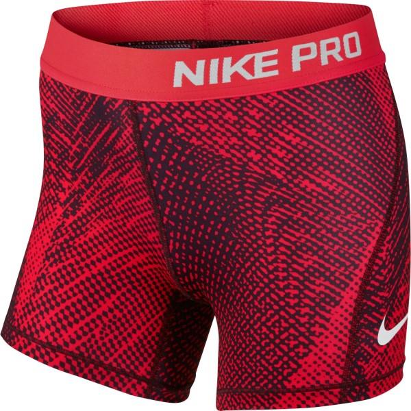 Nike Pro All Over Print Kids Girls Training Shorts – Red Mist/Silver