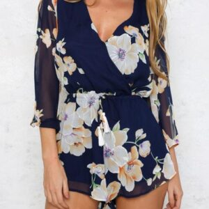 Sheer V-neck Floral Print Playsuit with Flared Sleeves