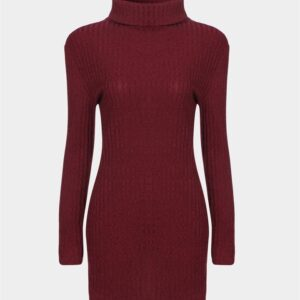 Burgundy High Neck Long Sleeves Pullovers Sweater