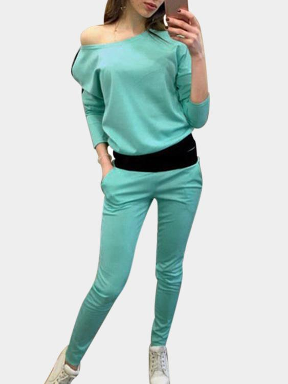 Green Casual Pocket Design Long Sleeves Sport Co-ord