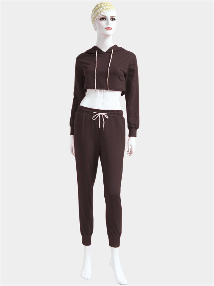 Coffee Casual Hooded Drawstring Waist Long Sleeves Sports Suit
