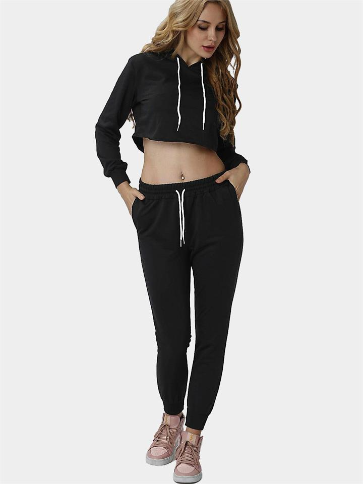 Black Casual Hooded Drawstring Waist Long Sleeves Sports Suit