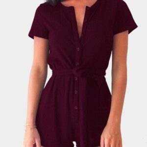 Burgundy Casual Round Neck Button Up Front Self-tie Playsuit
