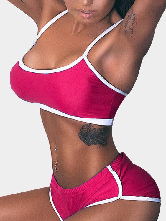 Bodycon Yoga Top & Bottom Set in Rose