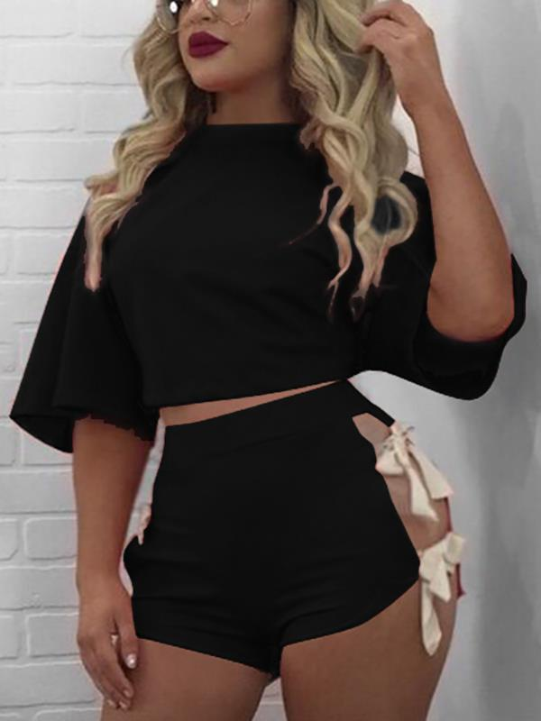Black Sexy Lace-up Design Top & Bottoms Tracksuit