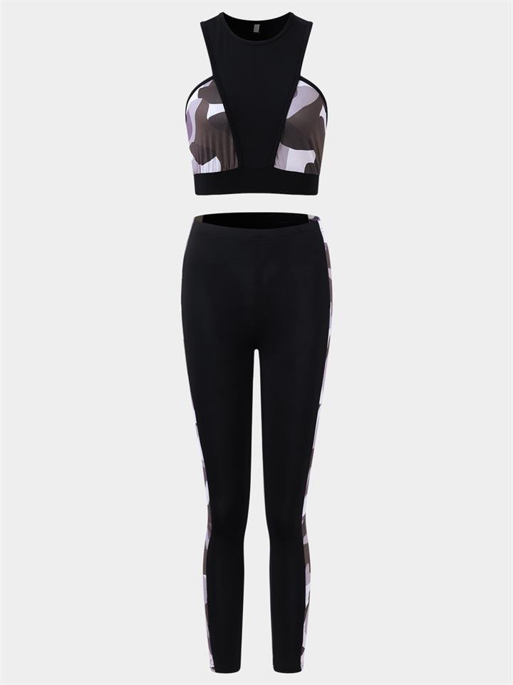 Active Cut Out Camo Pattern Quick Drying Elastic Tracksuit