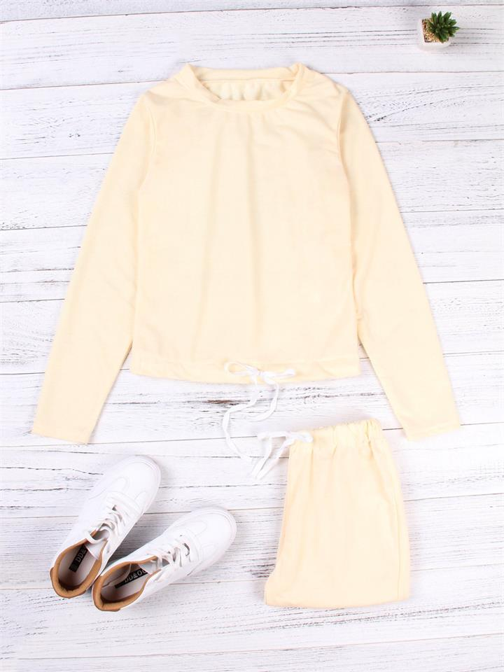 Active Round Neck Drawstring Waist Tracksuit in Beige