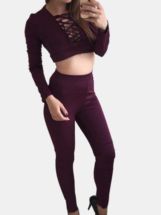 Active V-neck Lace-up Design Silk Material Tracksuit in Purple