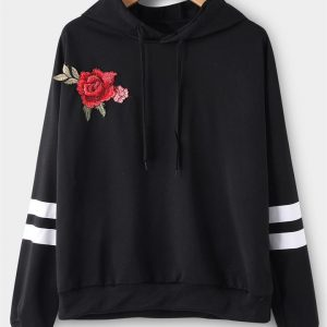 Black Embroidered Pullover Sports Hoodies