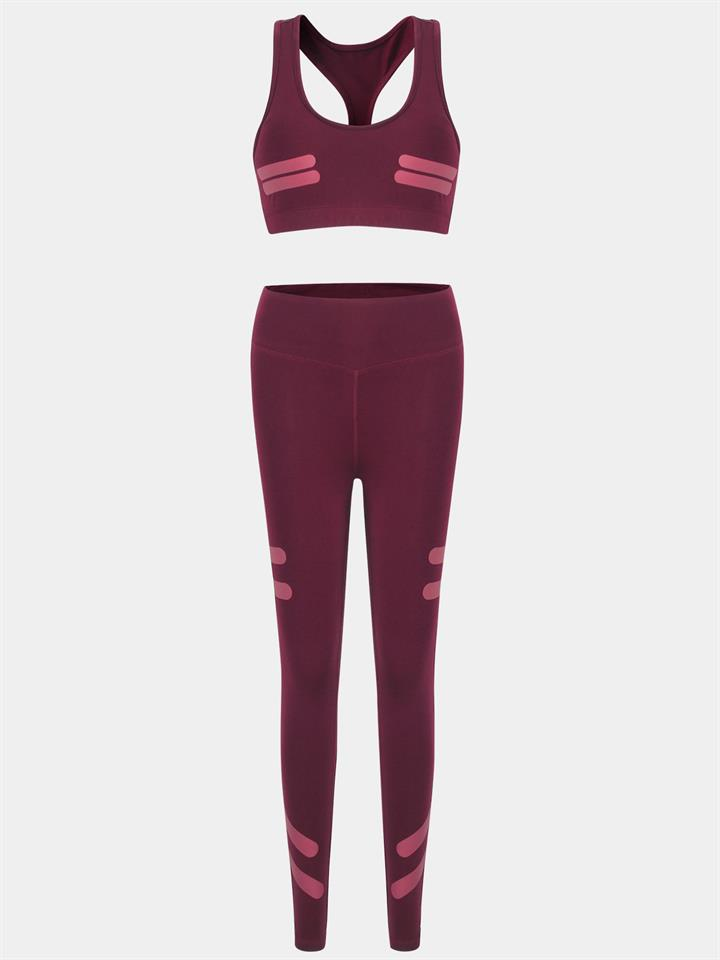 Active Elastic Breathable Tracksuit in Wine Red