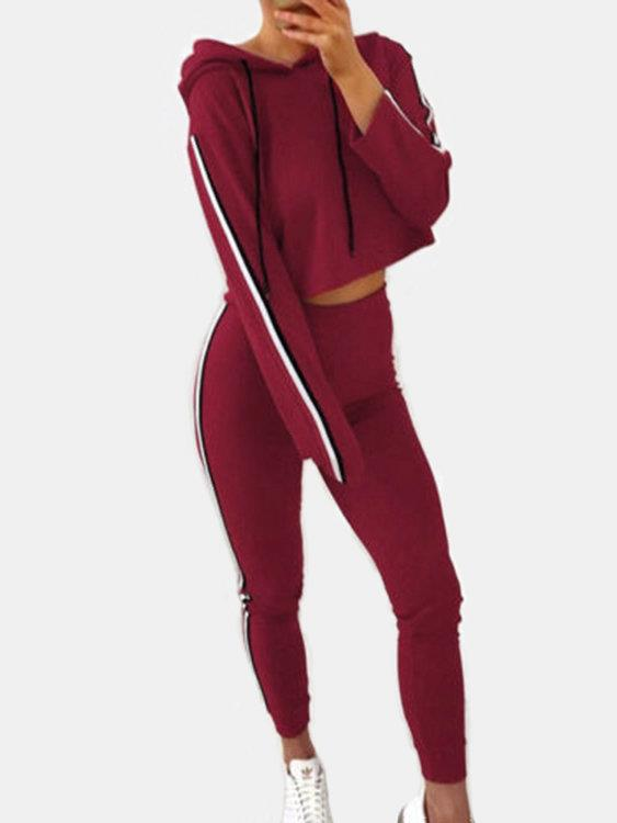 Red Hooded Design Plain Pullover Long Sleeves Activewear