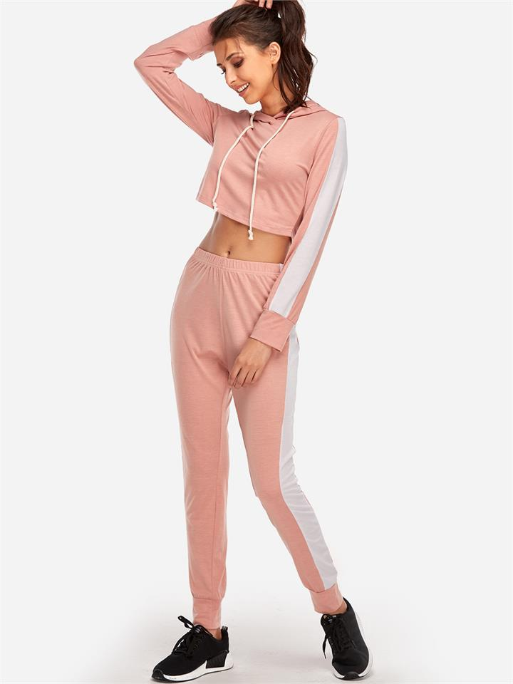 Pink Hooded Stripe Fashion 2-piece Sport Tracksuit