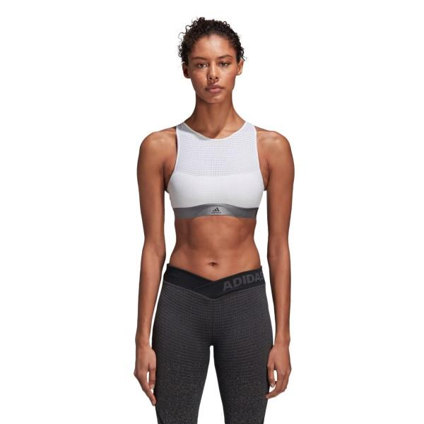 Adidas Womens Halter Sports Bra 2.0 – White/Grey