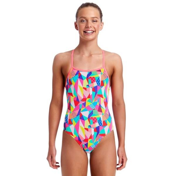 Funkita Strapped In Kids Girls One Piece Swimsuit – Pastel Patch