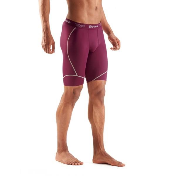 Skins DNAmic Team Mens Compression Half Tights – Maroon