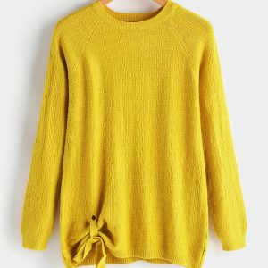 Yellow Tie-up Design Round Neck Long Sleeves Knitting Sweaters