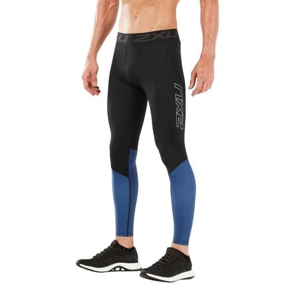 2XU Accelerate Mens Compression Tights With Storage – Black/Galaxy Blue