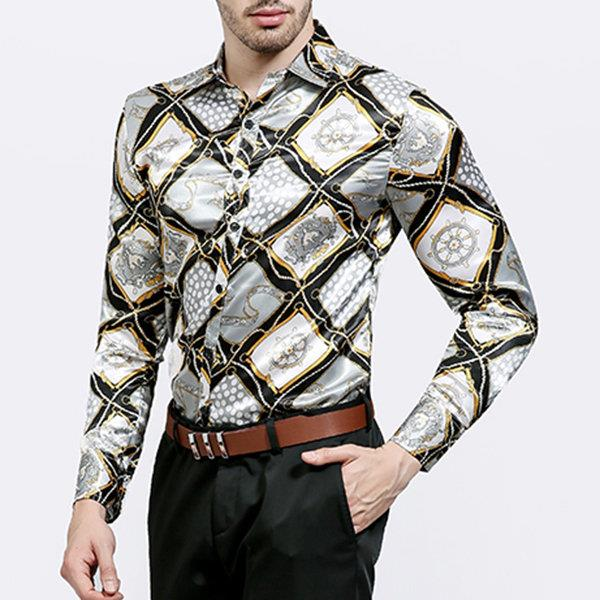 Slim Fit Printing Long Sleeve Button Up Shirt