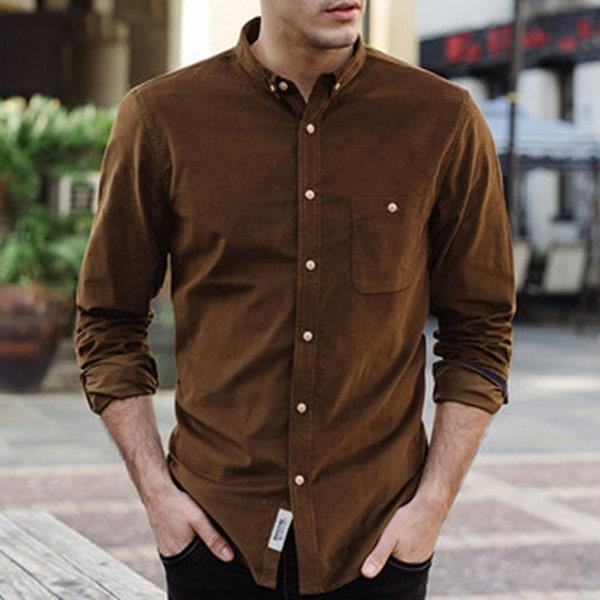 Fall Corduroy Slim Fit Button Up Casual Shirt