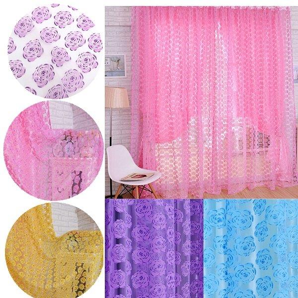 1 Panel 100*210cm Flower Printed Floral Voile Tulle Window Curtain Sheer Window Screen
