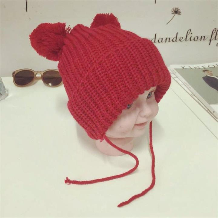 Kids Boys Girl Infant Toddler Solid Color Knit Hat Cute Hairball Beanie Cap