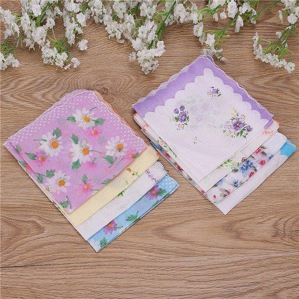 1Pcs Women Imperfect Handkerchiefs Floral Vintage Style Cotton Hankies Hanky
