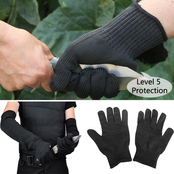 1 Pair Steel Wire Safety Anti-cutting Gloves Gardening Work Outdoor Camping Protection Tool