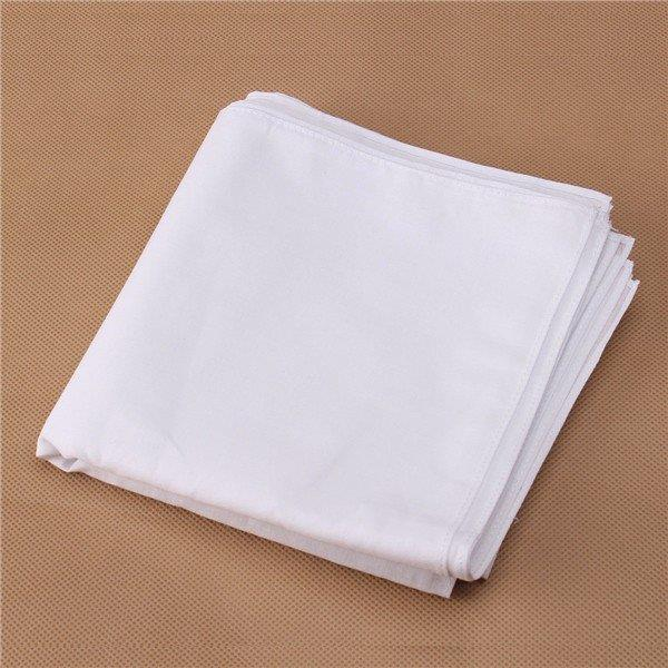 12pcs Men Women Plain White Cotton Handkerchiefs Solid Wedding Hankies