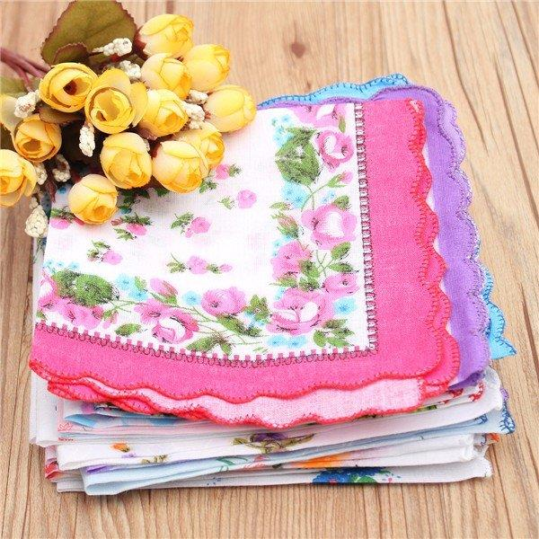 20Pcs Women Lady Vintage Style Floral Crescent Edge Handkerchief Cotton Hanky