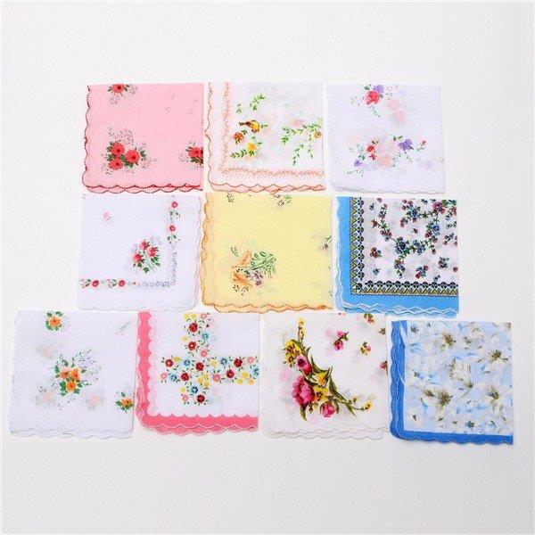 10Pcs Women Lady Vintage Style Floral Crescent Edge Handkerchief Cotton Hanky