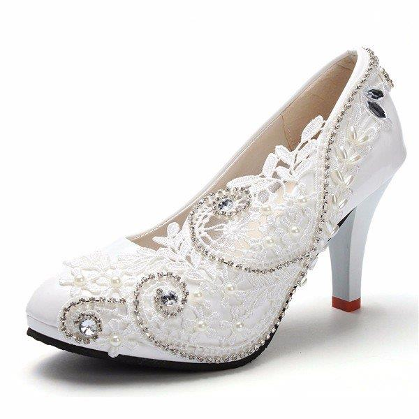 8cm White Crystal Lace Bead Flower Wedding Bridal Kitten Heels Pumps