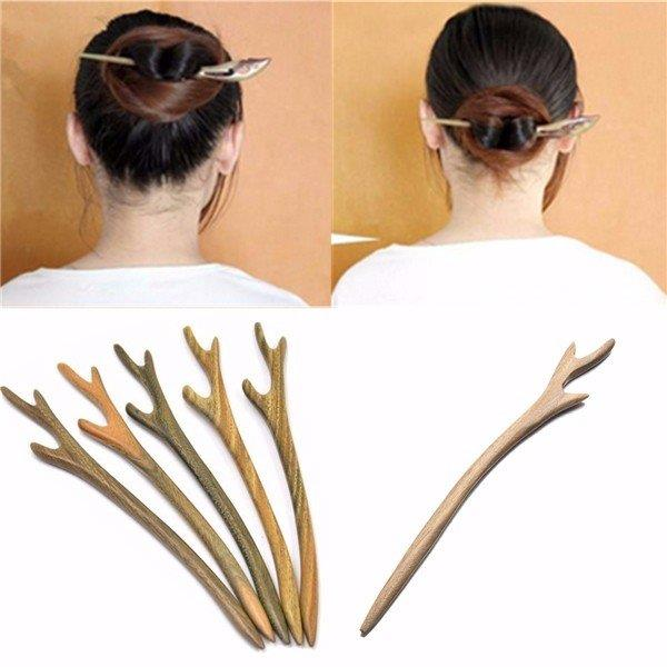 1 Pc Handmade Wooden Hair Pin Stick Chopstick Wood Carved Hair Accessories