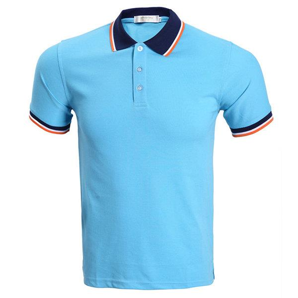 Fashion Casual Breathable Solid Color Turn-Down Collar Tees Short Sleeve Polo Shirt For Men