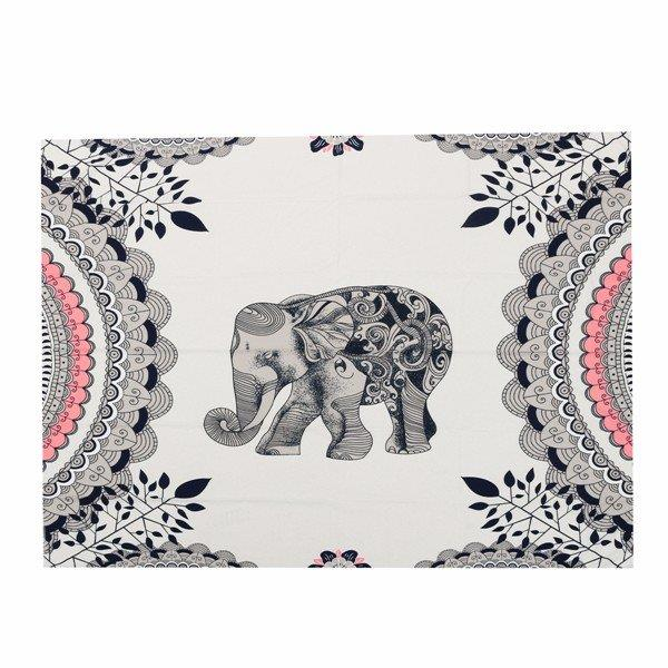140*134cm Elephant Pattern Beach Shawl Scarf Towel Wall Hanging Decor