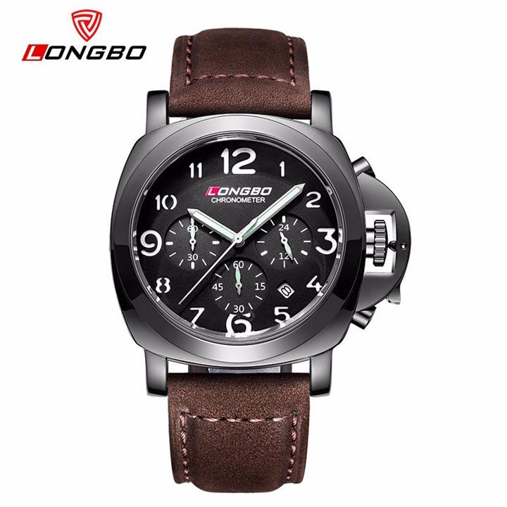 LONGBO Leather Titanium Watch