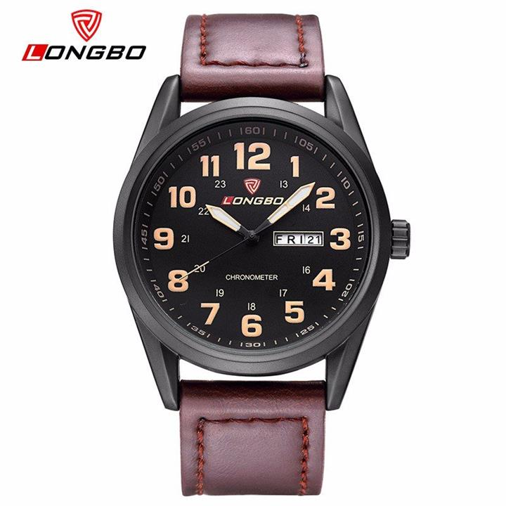 LONGBO Men Watch PU/Stainless Steel Luminous Day/Week Watch