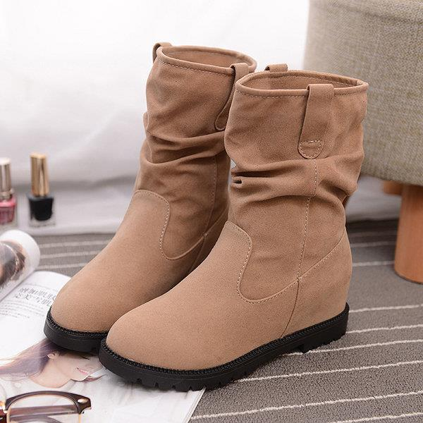 Pure Color Mid Calf Suede Slip On Casual Cotton Boots