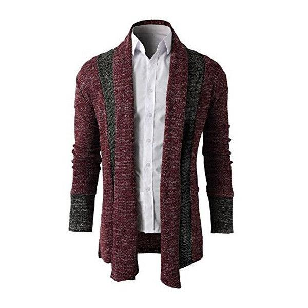 Stitching Color Slim Fit Knitted Cardigans