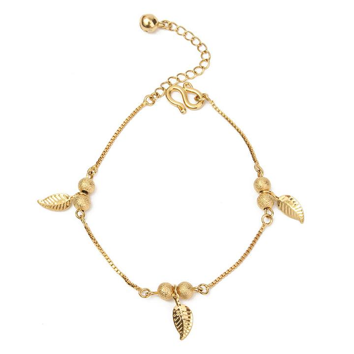 18K Gold Anklets Simple Leaves Ball Tassel Anklet for Women Gift