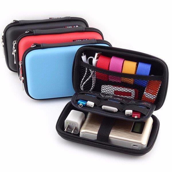 "2.5"" Portable Women Digital Storage Bag Men PU Leather Power Bank Bag"
