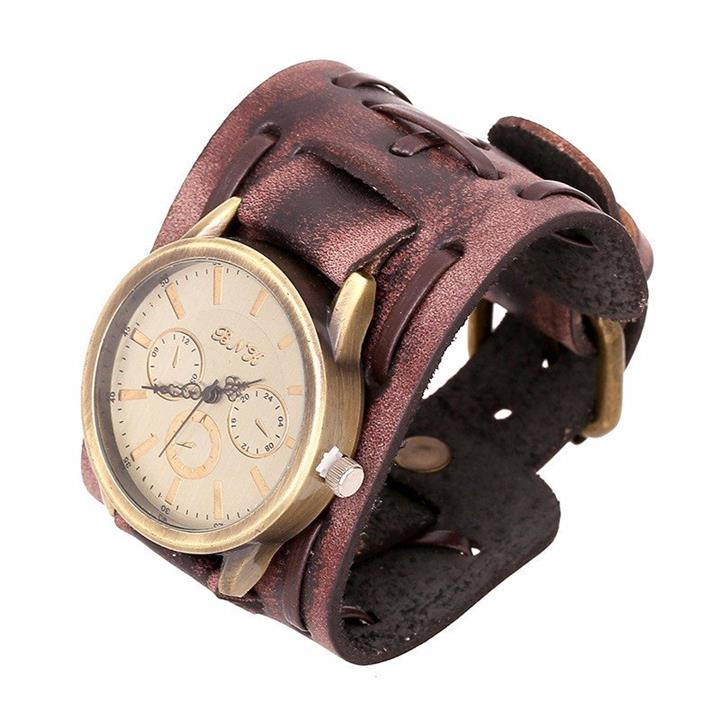 Punk Vintage Watch Retro Rock Leather Bracelet Watch for Men Gift