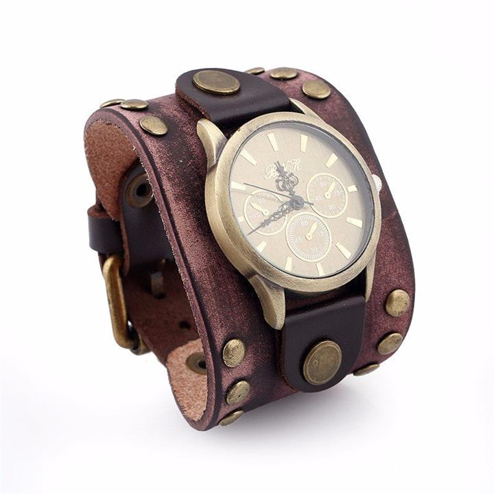 Rock Bracelet Watch Punk Retro Leather Vintage Bracelet Men Watch