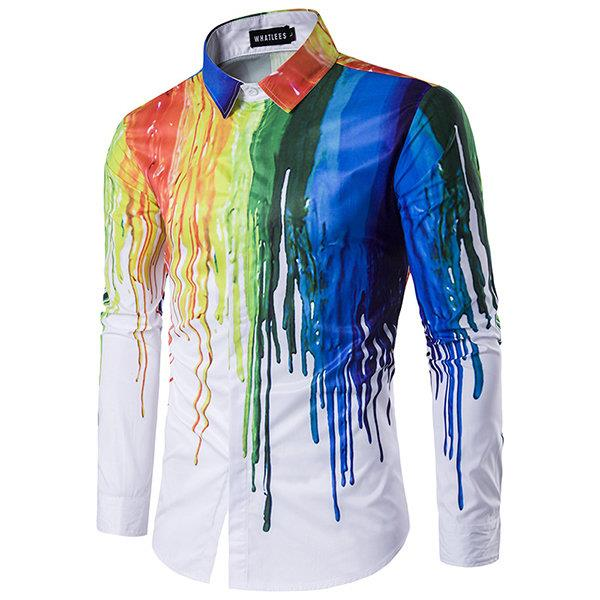 Spring Style Personality 3D Splash Ink Printing Long Sleeve Dress Shirts for Men