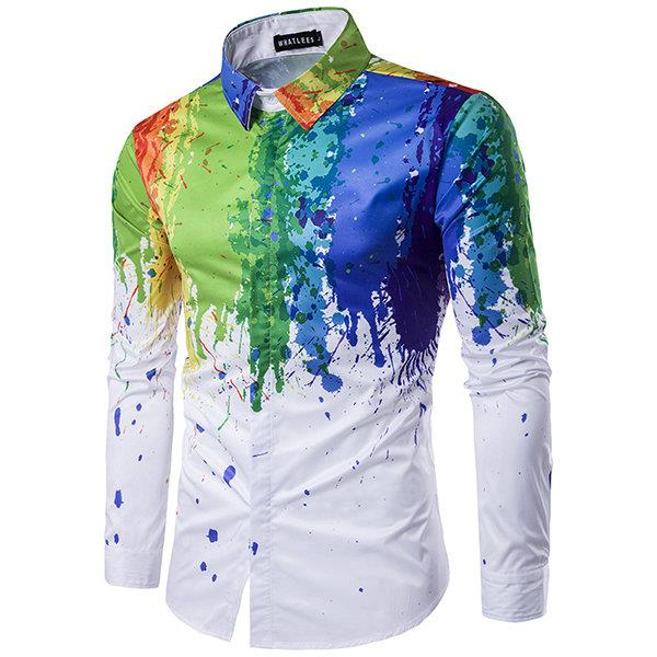 Korean Style Casual Personality 3D Splash Ink Printing Long Sleeve Dress Shirts for Men