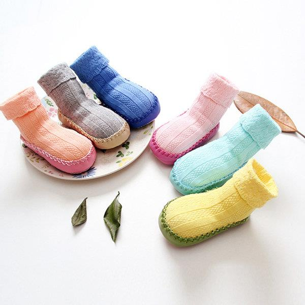 12 Pairs Of Toddler Indoor Pure Color Sweet Socks Baby Shoes