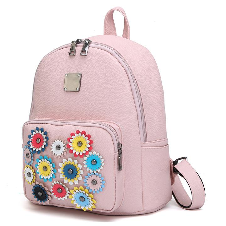 3 PCS Grils Flowers Bag Shoulder Bag Backpack Students Casual Street Bag
