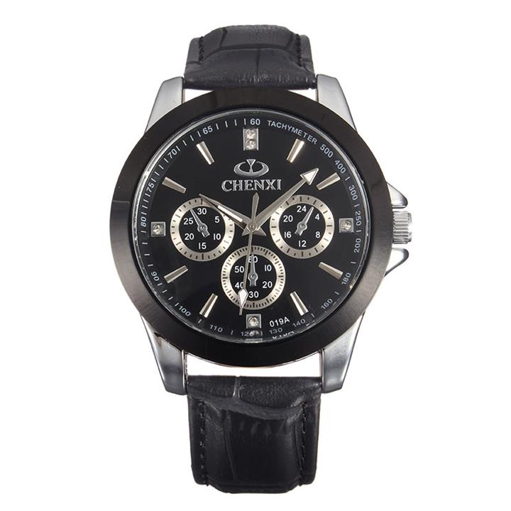 CHENXI Casual Watch Leather Rhinestone Men Watch